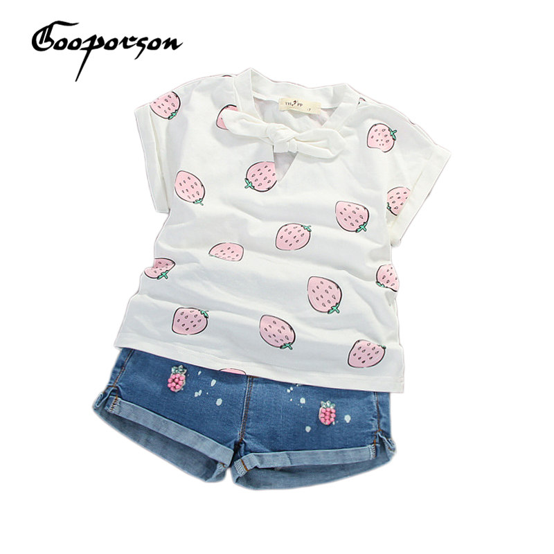 Girl Summer Clothes Clothes 2017 Summer Fashion Baby Girl Clothing Suit Strawberry T shirt & Jeans Pants Kids Outfits Clothing casual summer girl s fashion jeans suit set t shirt kids pants conjunto infantil baby clothing outerwear clothes children s wear