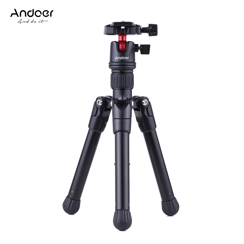 Andoer Mini Tripod Stand Tabletop Travel w Ball Head Quick Release Plate Portable Lightweight for Canon
