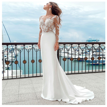 SoDigne Long Sleeves Wedding Dress 2019 Beach Bridal Gown Satin Lace Appliques Dresses White/Lvory Romantic Buttons