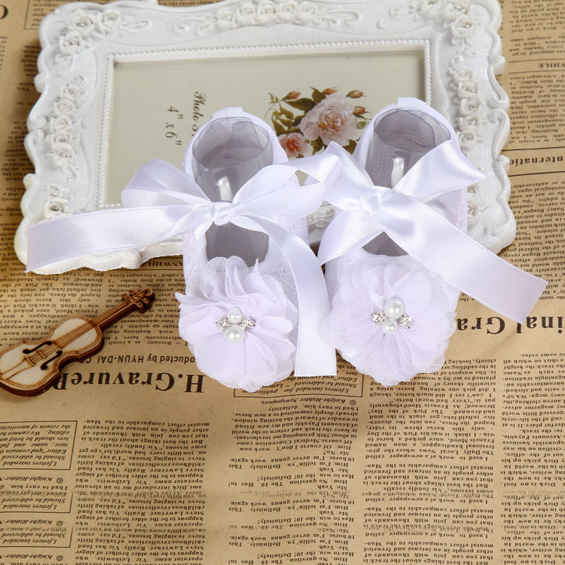 2016Ivory Baby Infant shoes girls Anti-slip soft sole prewalker christening baptism zapatillas bebe lace shoes pair/lot