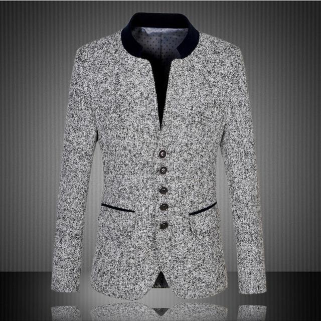 Tamanho grande Slim Fit Único Breasted Trench Coat Terno Jaqueta de Inverno Dos Homens de Negócios de Lã Gola Mandarim Blazer Plus Size 5XL, 6XL