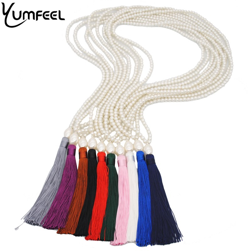 Yumfeel Brand Original Design Simulated Pearl Necklace Women 10 Color Choice Tassel Pearl Long Necklace Sweater Chain Jewelry