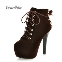 Ankle Boots Fall Fashion Sexy Thin Heel Shoes Woman Faux Suede Cross Lacing Platform Party Shoes
