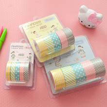 Color Paper Tapes Handmade (5pcs/set) DIY Decorative Washi Tape Set Colored Adhesive