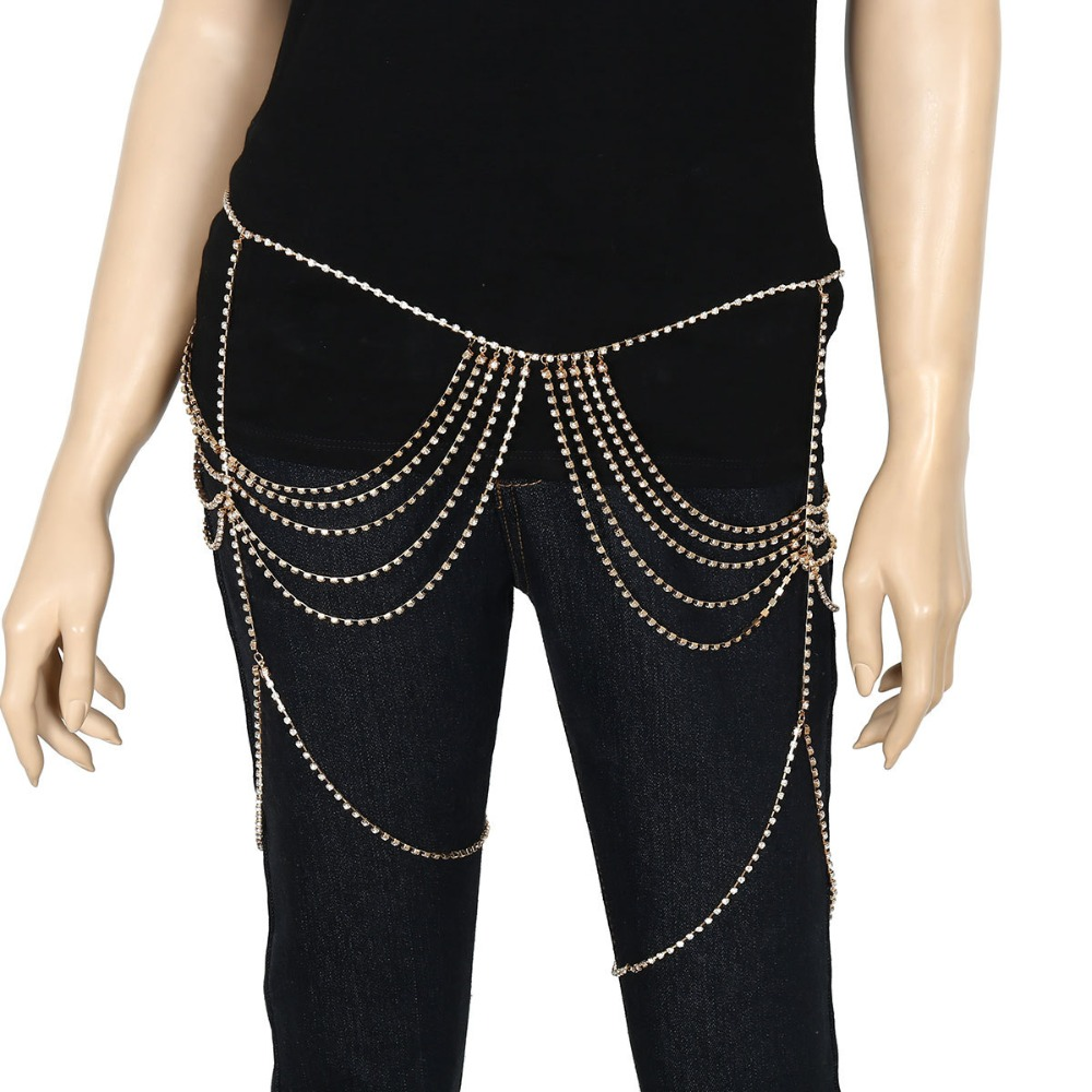 Silver Gold Color Tassel Rhinestones Belly Waist Chain For