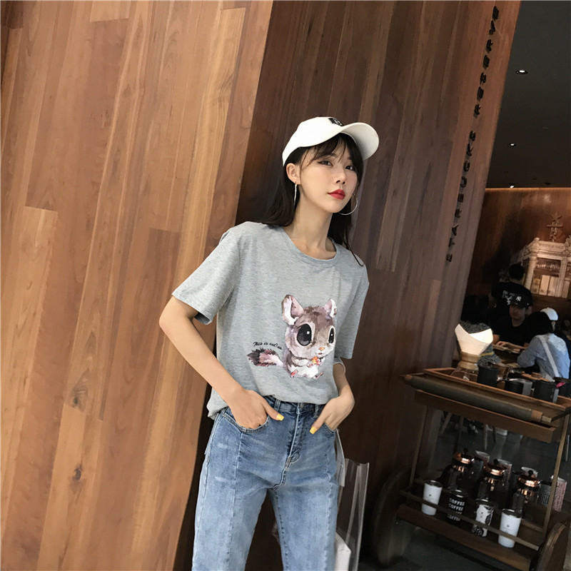 2019 Summer Women 39 s T shirt Korean Fashion Casual Cute Squirrel Print Loose Large Size Female Tshirts O Neck Tees Tops 90s New in T Shirts from Women 39 s Clothing