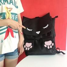 Японский harajuku мягкой сестра мультфильм печати рюкзак мило глаза кошки коготь опрятный стиль траве мешок мешок школы черный цвет bookbag