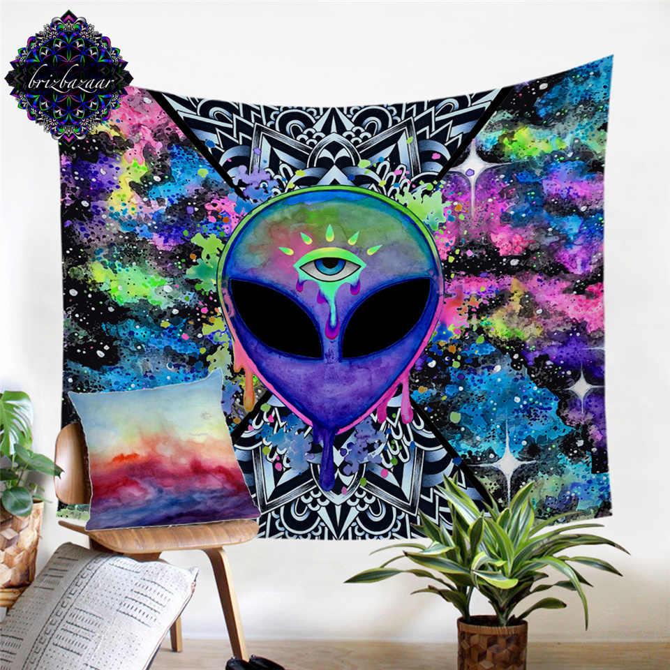 Trippy Alien โดย Brizbazaar Tapestry WATERCOLOR Wall พรม Eye Trippy Tapestry Wall แขวน Saucerman เวทมนตร์กำมะหยี่ tapiz Dropship