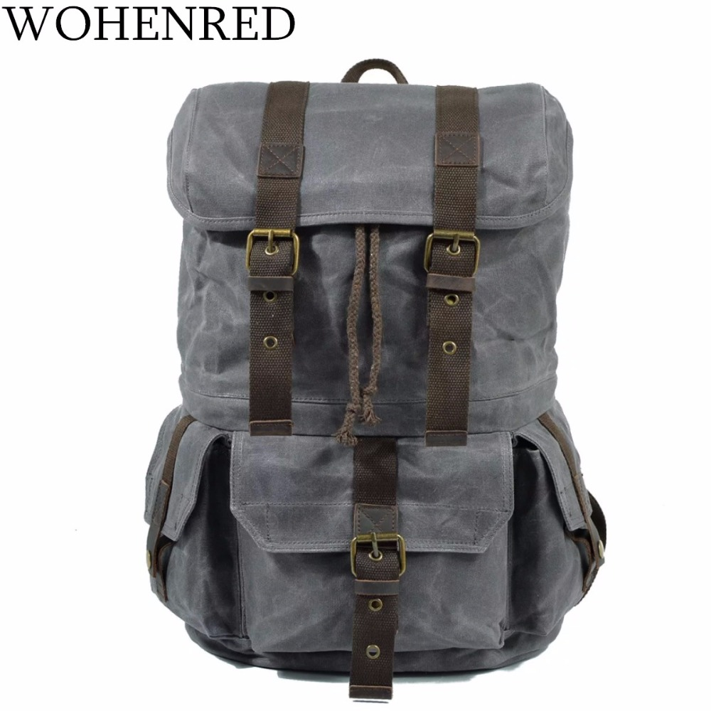 Vintage Leather Canvas Men Backpacks Waterproof Casual School Bags Male Laptop Bookbag Large Capacity Military Travel Backpack men s casual bags vintage canvas school backpack male designer military shoulder travel bag large capacity laptop backpack h002