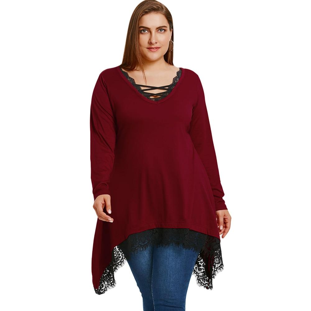 Wipalo 2018 T-Shirts Women Plus Size 5XL Lace Trim Tunic Sharkbite T-Shirt Casual Black V Neck Long Sleeve Ladies Tops