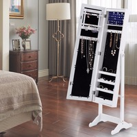 Goplus 2018 Mirrored Jewelry Cabinet Bedroom Armoire Standing Storage Organizer Led Light Wooden Necklace Storage Box HW54406