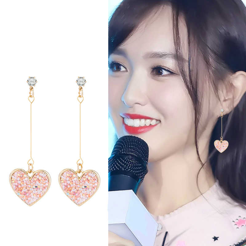 New Earrings Fashion Popular Sweet Sequins Earrings Love Temperament Simple Personality Long Earrings Jewelry Wholesale