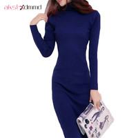 2015 New Arrive Women Winter Sweater Dresses Slim Turtleneck Long Knitted Dress Sexy Bodycon Robe Dress