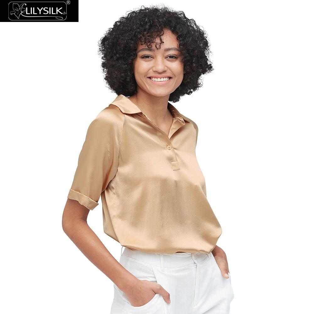 LilySilk Seide Polo Shirts Frauen Klassische Damen Neues Freies Verschiffen-in Blusen & Hemden aus Damenbekleidung bei  Gruppe 1