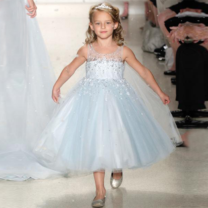 Sparkly Custom Crystal Kids Pageant Gowns Tea-Length   Girls   First Communion   Dresses   2019 Cute Beaded Ball Gown   Flower     Girl     Dress