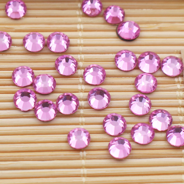 288pcs-1440pcs Lt Rose Color Shiny Strass Stones And Crystals Glass Fabric  DIY Iron On 320a482e6f65