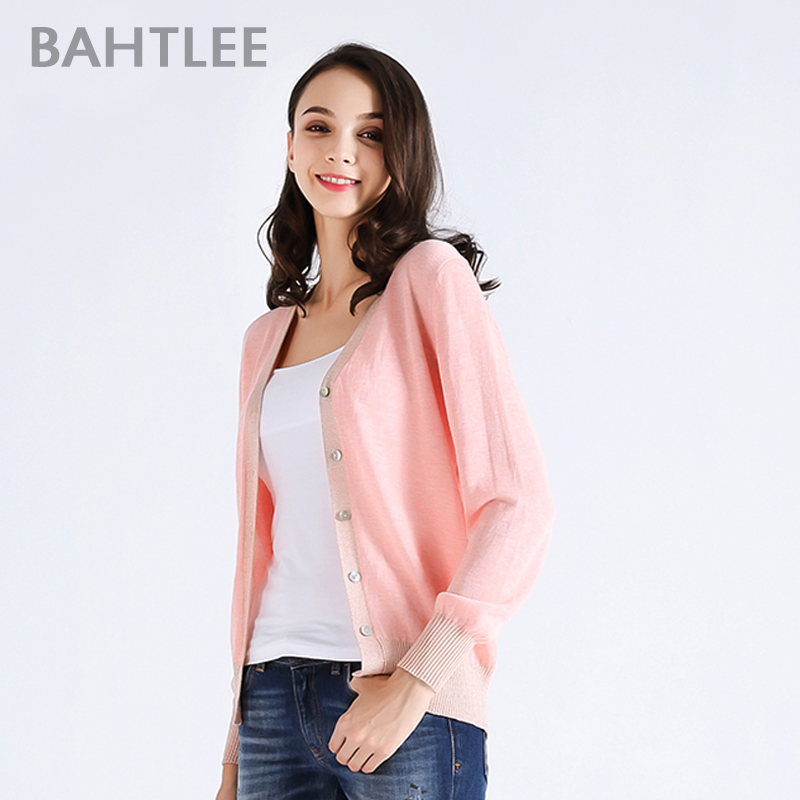BAHTLEE spring autumn Women s tencel Coat Knitted Cardigan sweater V neck Long Sleeves wool thin