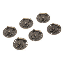 6Pcs 38mm Butterfly Box Clasp Chinese Old Lock Latch Vintage Wooden Jewelry Buckles Buckle Furniture Hardware with Screws