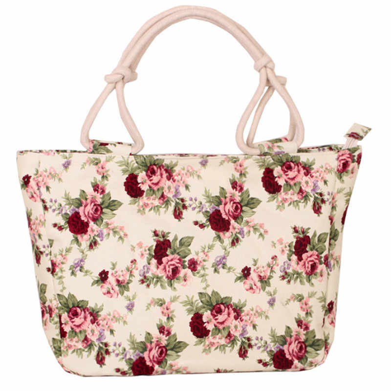 HEFLASHOR Folding Women Big Size Handbag Tote Ladies Casual Flower Printing Canvas Graffiti Shoulder Bag Beach Bolsa Feminina