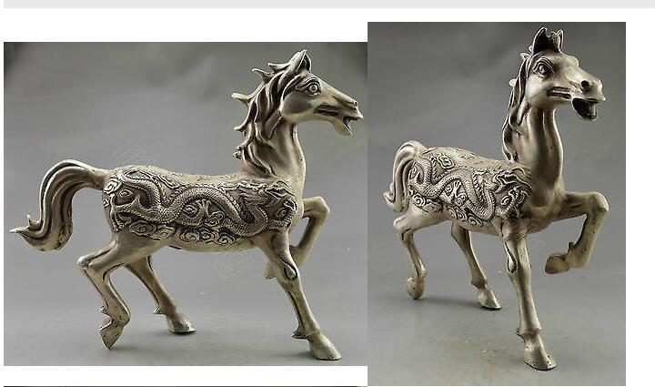Collectible Decorated Old Handwork Tibet Silver Carved Big Zodiac Horse Statue Garden  decoration brass factory outletsCollectible Decorated Old Handwork Tibet Silver Carved Big Zodiac Horse Statue Garden  decoration brass factory outlets