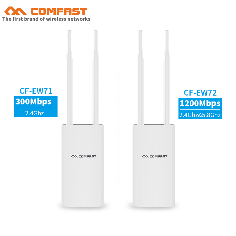 2.4G&5.8G 300Mbps~1200Mbps 48V PoE 27dBm Outdoor Wireless AP CPE Wifi Router Signal Booster Base Station With Antennas For Park