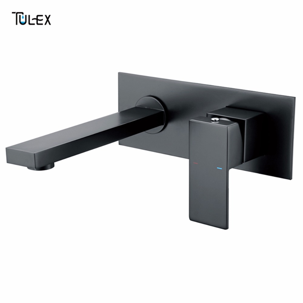 TULEX Bathroom Basin Mixer Chrome Crane Black Brass Wall Mounted Basin Faucet Single Handle Mixer Tap Hot And Cold Water free shipping concealed installation black color basin faucet hot and cold water wall mounted basin faucet bf999a