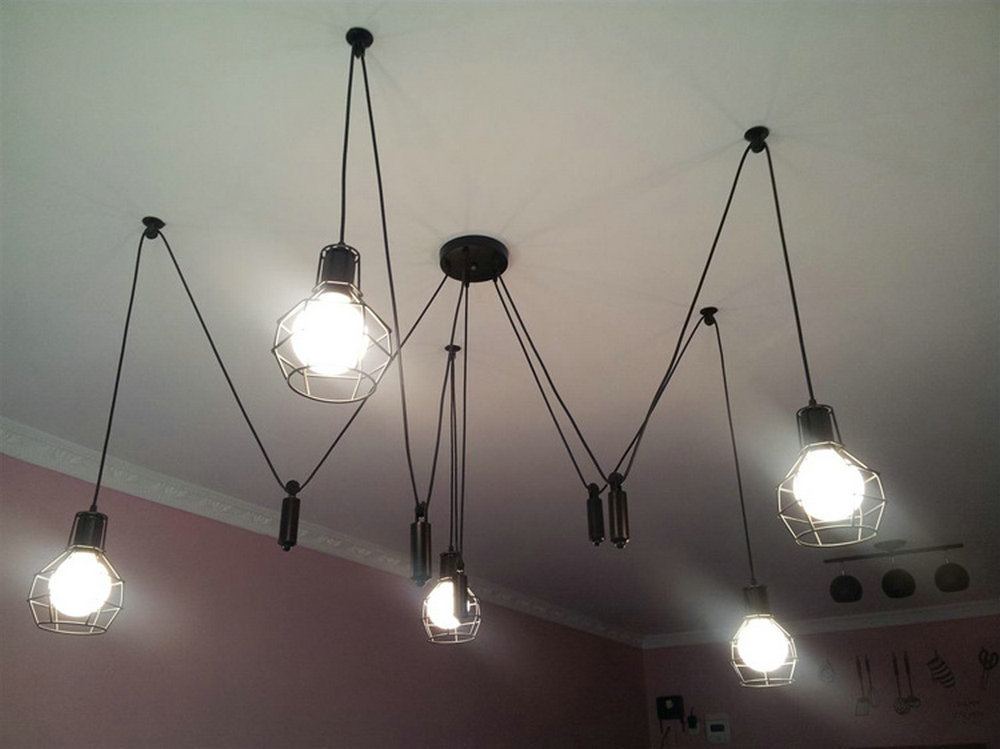 5 heads chandelier spider loft vintage industrial light edison lamps for dining room creative lighting small bulb holders in pendant lights from lights