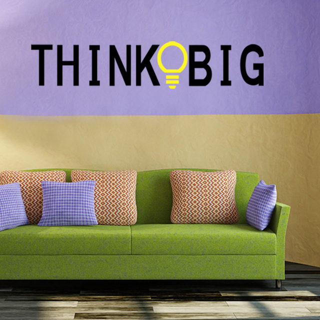 Vinyl Quotes Wall Stickers THINK BIG Removable Decorative Decals for ...
