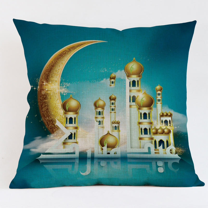 45x45cm Muslim Ramadan Decoration For Home Cotton Seat Sofa Cushion Cover Classic Lantern Throw Pillow Cover Eid Mubarak Decor