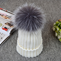 2016 New Real sliver fox fur ball cap pom poms winter hat for women girl 's hat knitted beanies cap brand new thick female caps