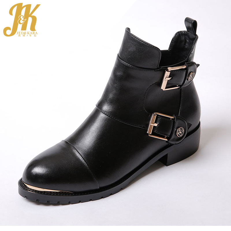 2017 High Quality Genuine Leather Ankle Boots Elegant Buckle Charm Fall Shoes Woman Platform Thick Heels Winter Boots plus size 34 47 elegant thick high heels buckle short boots lace up skid proof platform motorcycle fall winter shoes woman