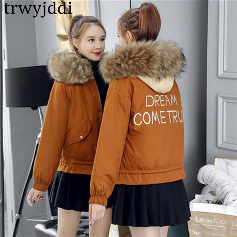 De N67 Fourrure Armygreen Bf Mode Coton Costume Coréenne Femme Le En caramel Parka Vers Grand Hiver Vestes Manteau Femmes Court 2018 Nouveau Col Bas C1ZB6