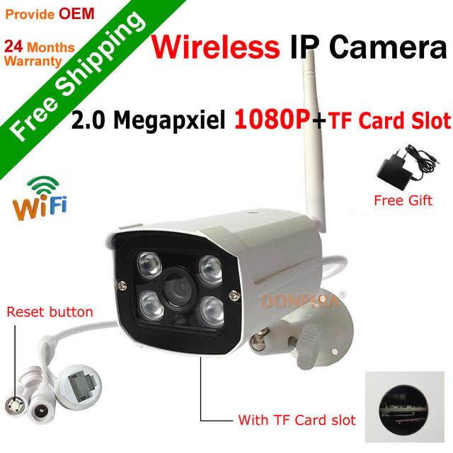 Full HD 1080 P Cámara IP Wirelss construido en ranura para Tarjeta de TF motion detectar 4 unids 2.0mp wifi onvif soporte de la cámara al aire libre ir noche leds