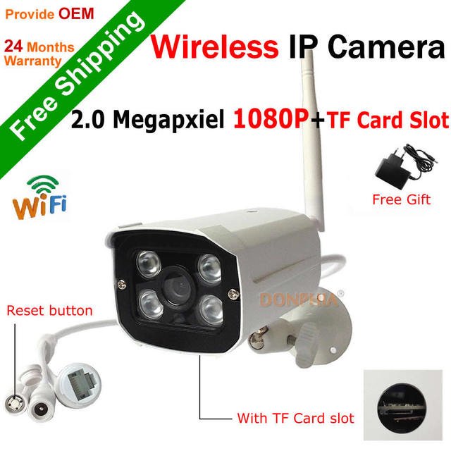 Full HD 1080 P Wirelss Ip-камера встроенный TF слот для Карты 2.0MP Открытый Wi-Fi камера поддержка onvif motion detect 4 шт. ИК Ночного светодиодов