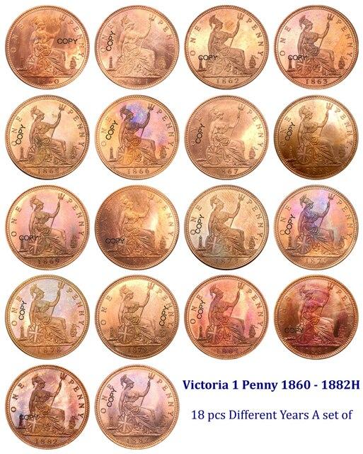 Великобритания один 1 пенни 1860 1861 1862 1863 65 66 1867 1868 69 1871 1873 1875H 1878 1879 1881H 1881 1882H красная копия монет