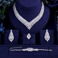 Luxury AAA cubic zirconia heavy necklace ,drop earrings ,bracelet and ring 4pcs dubai full wedding bridal jewelry set for woman