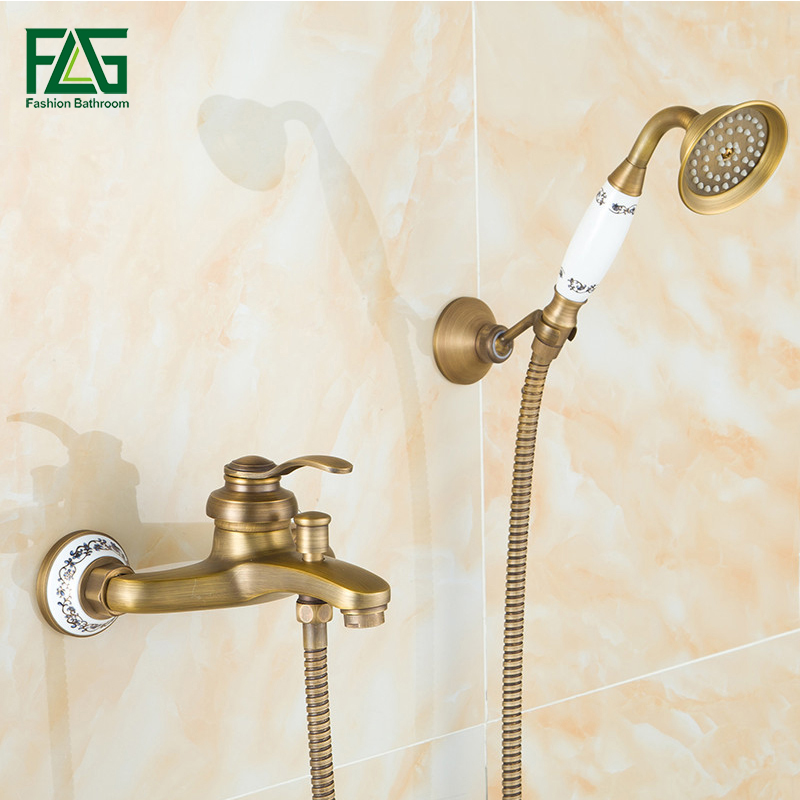 FLG Luxury Wall Mounted Brass Bath Faucets With Hand Shower Head Bath & Shower Faucet Antique Bathroom Shower Mixer Tap 6756 gappo classic chrome bathroom shower faucet bath faucet mixer tap with hand shower head set wall mounted g3260