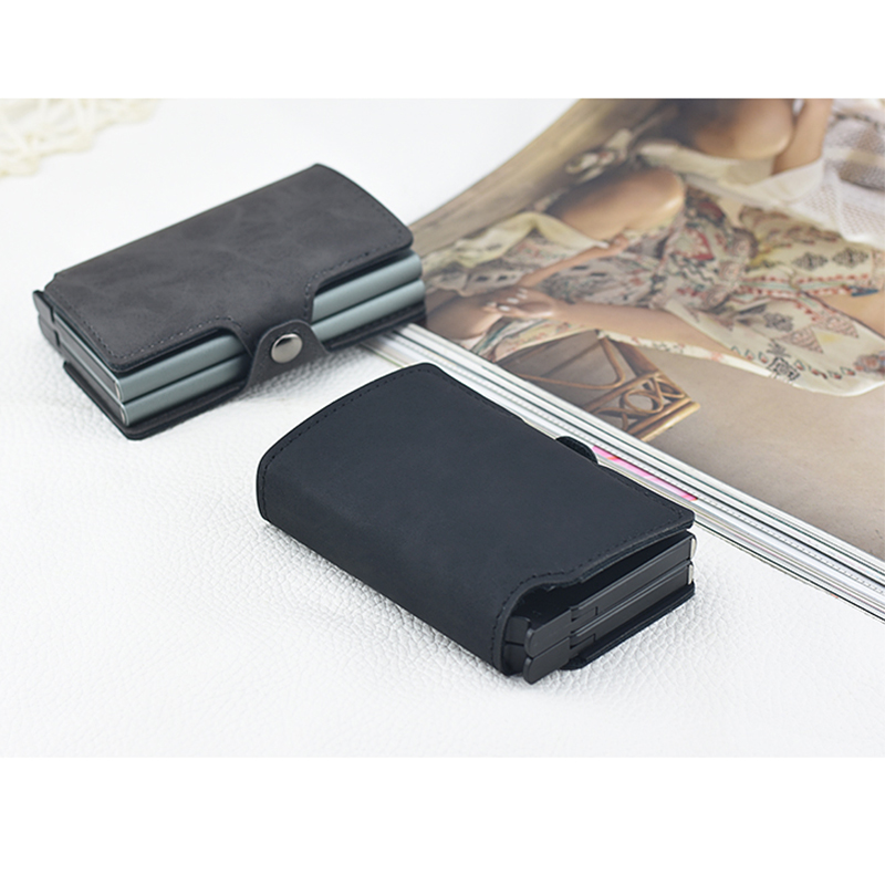 new arrival c7492 dd5b4 US $9.99 |Casekey Twin Double Card Holder Wallet Large Capacity Slim ID  Holder Coin Purse Crazy Horse Leather Front Pocket Design-in Card & ID  Holders ...