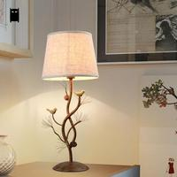 Iron Fabric Shade Bird Pinecone Table Lamp Fixture Vintage Industrial Antique Retro Rustic Country Desk Light Luminaria Bedroom