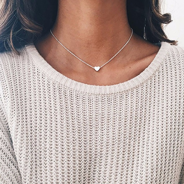 Classic Love Heart Choker Necklace Women New Fashion Simple Gold-color Jewelry Bijoux Cute Gift Wholesale #250975