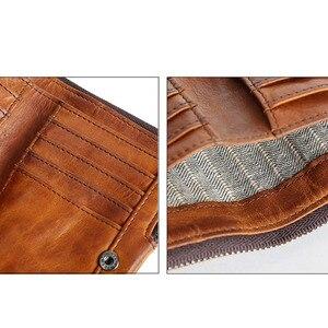 Image 5 - Короткий кошелек AETOO в стиле ретро, кожаный мужской бумажник с верхним слоем, Молодежный винтажный вертикальный клатч на молнии