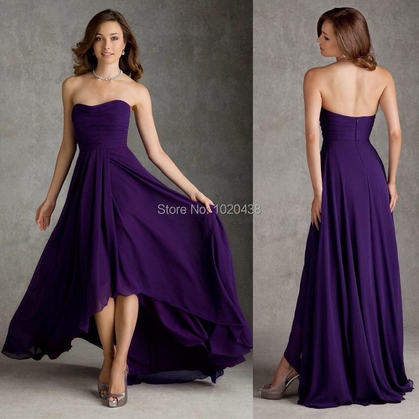 Free Shipping Cheap Long Strapless Purple Chiffon Bridesmaid Dresses ...