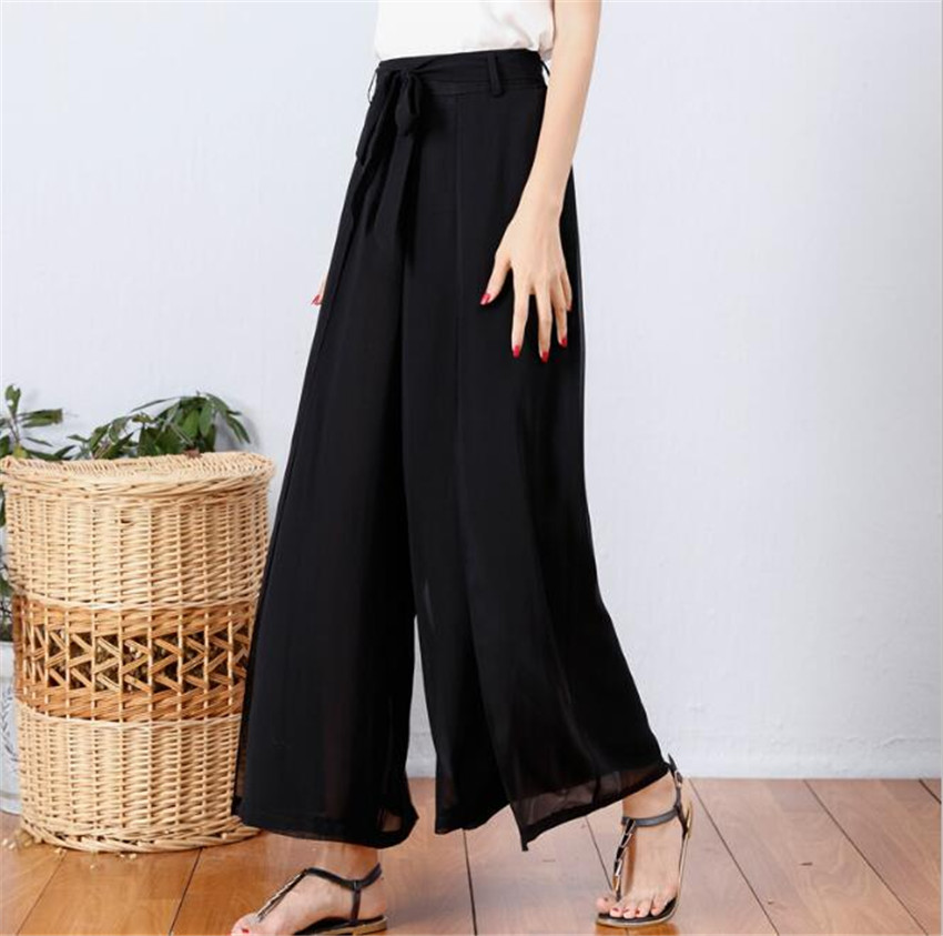 MLCRIYG summer Broad leg Nine points Chiffon Casual Pure color Female trousers