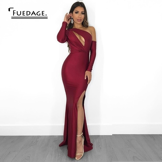 Fuedage New Autumn Sexy Bodycon Dress Women Solid One-Shoulder Long Dress High Split Hollow Out Elegant Party Dresses Vestidos