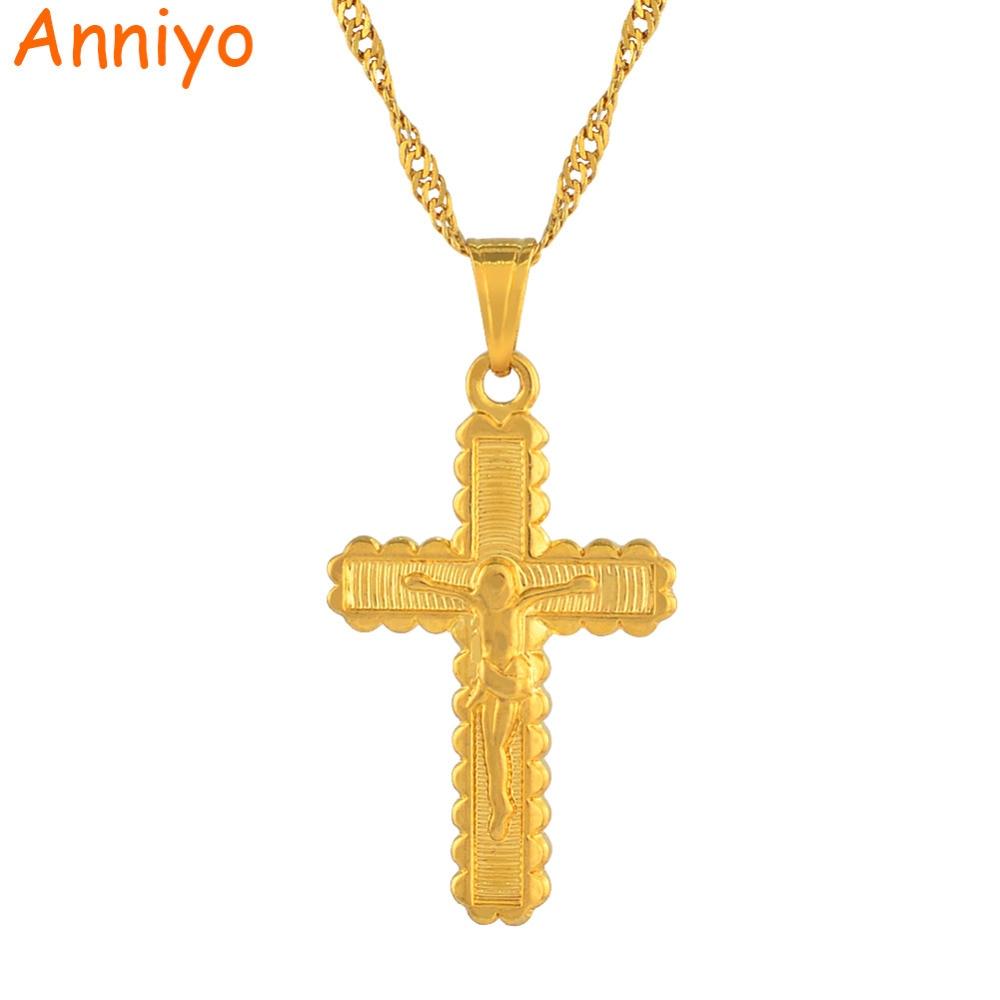 Anniyo Cross Charm Pendant Necklace Women Gold Color Jesus Crucifix ...