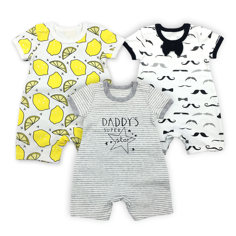 3pcs/1lot New baby rompers Newborn Infant Baby Boy Girl Summer clothes Cute Cartoon Printed Romper Jumpsuit Climbing Clothes