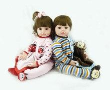 Ручной работы 24 дюймов Reborn малыша twin для маленьких девочек мальчик кукла винил реалистичные силиконовые принцесса принц кукла Игрушечные лошадки для детей Подарки Игрушка