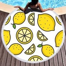 Boho Beach Towels Printed Lemon Watermelon Round Microfiber Adults Summer Sport Fruit Bath Towel Travel Picnic Yoga
