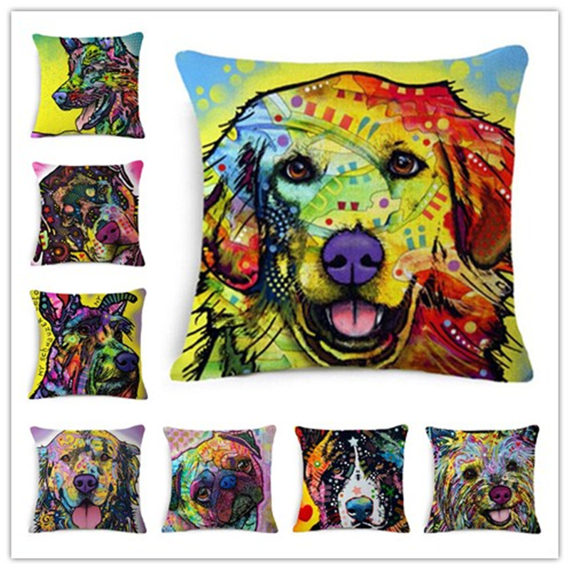 Fashion Cushion European Style New Home Decor Square Cojines  Dogs Printed Cotton Linen Hot Sale Sofa&Bed Throw Pillow