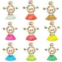 2017 New 30cm 40cm Lei Headband Flower Garland Wristbands Bra Hula Skirts Fancy Dress Costume Set